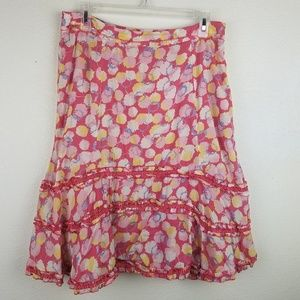 ODILLE Anthropologie Peasant Floral Flare Skirt